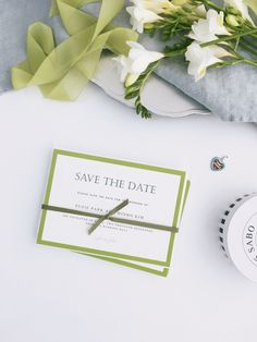Modern style Save the Date with green border