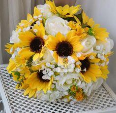 artificial flower wedding bouquet sunflower rose by Wendyslife, £45
