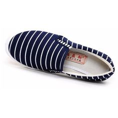 Stripe Canvas Color Match Classic Slip On Flat Casual Shoes (€9,10) ❤ liked on Polyvore featuring shoes, flats, slip on shoes, canvas slip on shoes, slip on flats, canvas flats and flat pumps