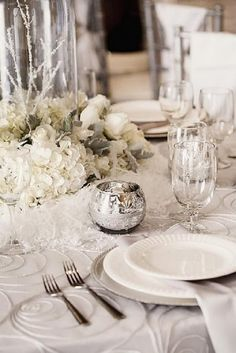 silver winter wedding table setting ideas