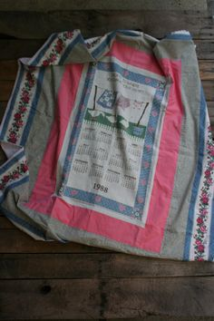 Upcycled Tea Towel Shabby Chic Floral Lap Quilt  by vintapod