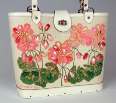 """Enid Collins """"Window Box"""" Geraniums Purse, painted & embellished with beads"""