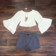 Off White Bell Sleeve Crop Top | MARY & MAK