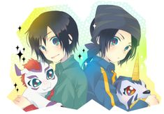 Digimon Frontier.. Twin brothers! Koji and Koichi. I love the Frontier theme song...