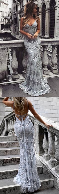 Prom Dresses Split, Mermaid Deep V-Neck Sweep Train Grey Tulle Prom Dress HoCo Bridal - Bal de Promo Backless Prom Dresses, Tulle Prom Dress, Lace Evening Dresses, Mermaid Prom Dresses, Prom Party Dresses, Homecoming Dresses, Evening Gowns, Formal Dresses, Dress Wedding