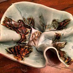 Copper and celadon porcelain bowl.