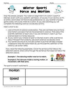 Great way to teach science vocabulary by watching Winter Sports or Olympic events! Force & motion words, context clues, and more! FREE from UsingMyTeacherVoice