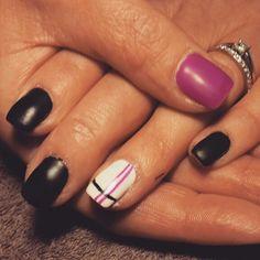 Black White purple pink stripes Matte