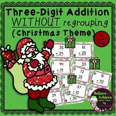 Three-Digit Addition NO regrouping task cards (Christmas theme)This is a colorful set of 24 task cards to practice three-digit addition with no regrouping with Christmas theme.This set is a wonderful addition to your lessons!