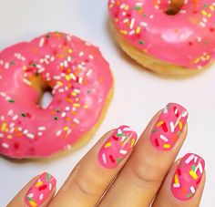 ugh I want donuts on my nails and little sprinkles that make me feel like a giant. Also these make me hungry