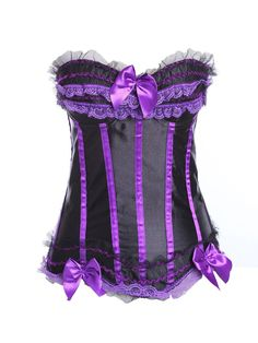 8f16c7ab91f  NewYear Sale  FashionMia Womens - FashionMia Plus Size Women Sexy Lace Up  Strapless Corset Bowknot Satin Temptation Bustier - AdoreWe.com