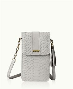 9534bee1fcecf Penny Phone Crossbody Bag Oyster Embossed Python
