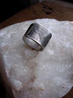 440b75f7a0f Items similar to Mens wide Modern Bold design silver men s ring - Unpreppy  Plaid on Etsy