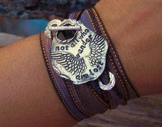 Silk Wrap Bracelet Artisan Jewelry Not All Who by HappyGoLicky, $49.50