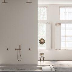 Piet Boon design bathroom taps bycocoon.com | Piet Boon® by COCOON | badkamer design | minimalist bathroom |  PB SET22 complete stainless steel build-in rain shower set in raw copper finishing | loft interior design | Dutch Designer Brand COCOON