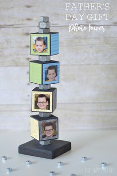 DIY Fathers day gift photo tower. This could work for many occasions.