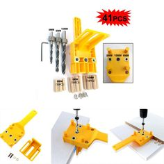41pcs Woodworking Hole Connection Drilling Locator Straight Hole Locator Tool Set. #41pcs #Woodworking #Hole #Connection #Drilling #Locator #Straight #Tool Router Woodworking, Woodworking Workshop, Woodworking Shop, Woodworking Projects, Wood Carving Chisels, Carving Tools, Pocket Hole Drill, Joinery Tools, Drill Jig