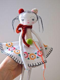 Little Oshi doll cloth art doll heirloom door JessQuinnSmallArt, £55.00