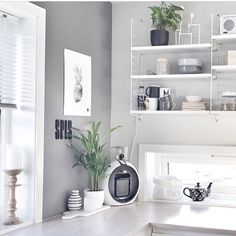 Sunny Friday morning ☀️Photo by String Shelf, Shelving Systems, Kitchen Stories, Compact Living, Storage Design, Decoration, Furniture Decor, Kitchen Design, Sweet Home