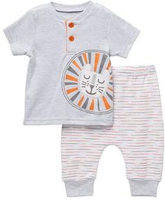 Lion Tee & Pant Set (Baby Boys) #neck#Crew#Top Kids Clothes Boys, Stripe Print, Baby Boys, Nordstrom Rack, Kids Outfits, Lion, Short Sleeves, Tees, Pants