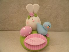 Spring Bunny and Bluebird by countrycupboardclay on Etsy, $12.95