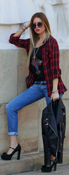 Nostalgic Nineties by LoLoBu. Blouse by Stradivarius, Jeans by Diesel, Jacket by Zara, Pumps by Pitarello.