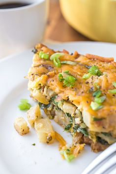 Cheesy Breakfast Bake with Spinach, Bacon & Caramelized Onions | thecozyapron.com