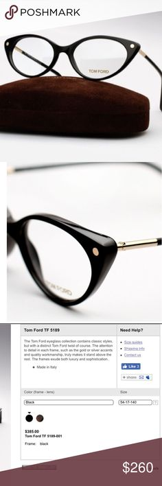 TOM FORD 'CAT EYE' GLASSES - BLACK **MUST SEND MY DAUGHTER TO SAN FRAN TO SEE THE ONE & ONLY HARRY STYLES! WiILL BE PUTTING UP TONS OF STUFF TO GET HER THERE FOR HER B DAY, NO MATER WHAT! HIS FIRST SOLO SHOW!Tom Ford 'Cat Eye' Glasses. Details are listed above. Minimal use with prescription. Doesn't suit my face, in my opinion.  Comes with case/box and dust cloth. Tom Ford Accessories Glasses