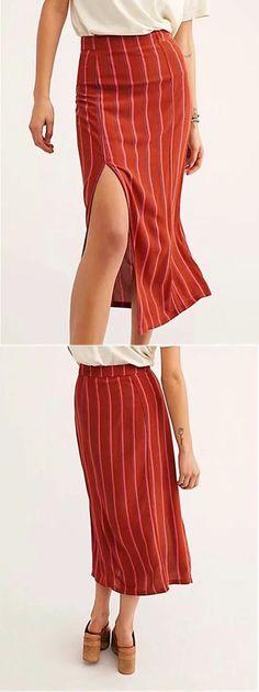 7b8389de57 Red Stripe High Waist Thigh Split Side Women Midi Skirt Red Stripes, Latest  Fashion For