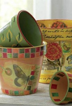 Painted & Decoupage Flower Pots are perfect for decorating your fall garden!
