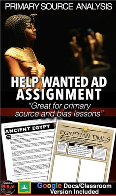 History Lesson Plans, World History Lessons, Teaching Social Studies, Teaching History, Help Wanted Ads, Primary Sources, Primary Lessons, Ancient Egypt, Newspaper