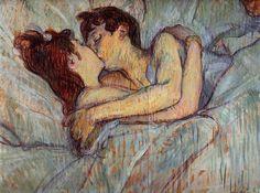 Na Cama (In Bed: The Kiss, 1892) de Henri De Toulouse-Lautrec