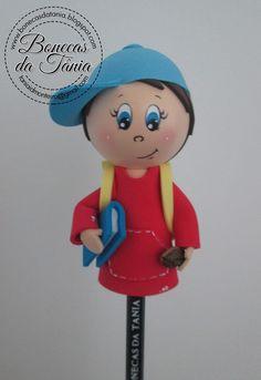 Bonecas da Tânia: Ponteiras para lápis (menino)