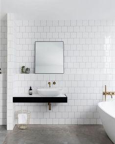 Image result for White square tile bathroom