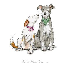 Hello Handsome Print by Anita Jeram - Hunde - Illustration Art Nouveau, Dog Illustration, Animal Illustrations, Animal Drawings, Cute Drawings, Cute Dog Drawing, Drawing Sketches, Anita Jeram, Cartoon Dog