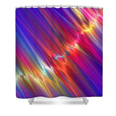 """Shower Curtain wiht abstract bight colors with blue background. These quality curtains are made from 100% polyester fabric and include 12 holes at the top of curtain for simple hanging from your own rings. Shower curtains are 71"""" wide by 74"""" tall....."""