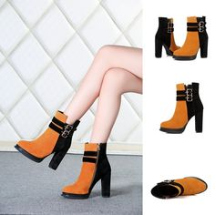 Boots - Yellow Black 2 buckles Nubuck Platform Ankle boots @shoesofexception #trendy #bicoloured #platform #boots
