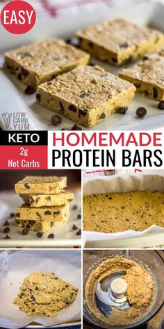 Why buy expensive keto bars made with fillers and preservatives? This homemade low carb protein bars recipe is easy to make and customize! Low Calorie Protein Bars, Easy Protein Bars, Gluten Free Protein Bars, Low Carb Bars, Low Fat Low Carb, Protein Bar Recipes, Protein Desserts, Protein Cake, Protein Snacks