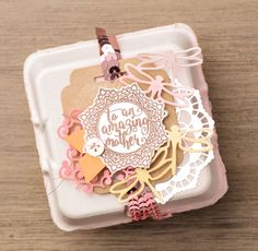 Use the Everyday Tags stamp set with the new egg cartons to decorate a special handmade gift. #stampinup #OccasionsMini2017