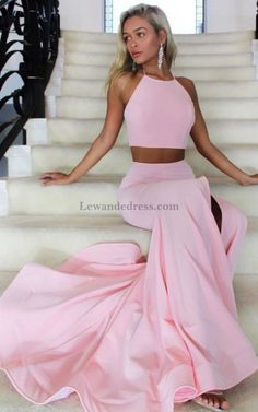Sweep Train Two Piece Halter Backless Long Prom Dress with Slit Long Mermaid  Prom Dresses 50bfccd85c5f