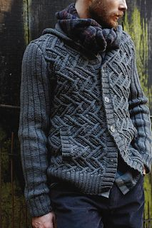 Settler by Martin Storey/Pioneer (Rowan) - men's seamed cardigan in aran weight wool + cables + buttons + hood + pockets