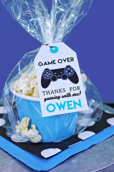 Video Game Favor Tag with Black Controller by PrintableStudio505