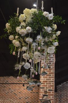 Hanging floral chandelier with white peonies, pink tulips and so much LOVE!