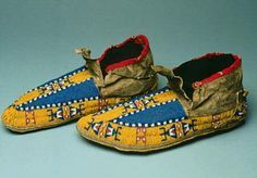 Circa 1880   Lakota fully beaded moccasins with both pony trader blue and greasy yellow beads.