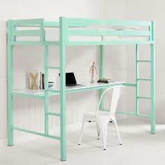Twin Metal Loft Bed with Workstation - Mint