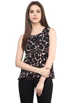 LadyIndia.com #Casual Wear, Brown Animal Print Sleeveless Crepe Round Neck Casual Top, Casual Wear, Summer Wear, College Wear, New Fashion Trend, https://ladyindia.com/collections/western-wear/products/brown-animal-print-sleeveless-crepe-round-neck-casual-tops?variant=32473965005