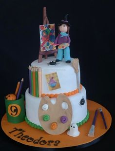 Painting themed cake