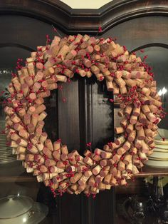 Natural wine cork wreath with Berries
