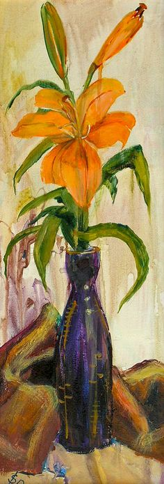 Blue Vase   Acrylic Still Life with Lily   Original Acrylic Painting   Dora Stork   Encaustic Artist Stork, Acrylic Paintings, Still Life, Lily, Floral, Artist, Flowers, Projects, Blue