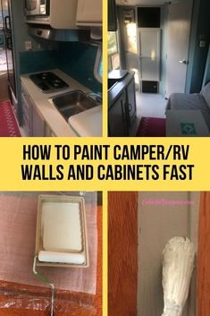 How to paint Camper/RV Walls and Cabinets fast, Camper Remodel painting RV Cabinets and Walls, RV interior wall material Paint Rv, Paint Walls, Rv Cabinets, Kitchen Cabinets, Diy Camper, Camper Ideas, Camper Life, Rv Life, Truck Camper